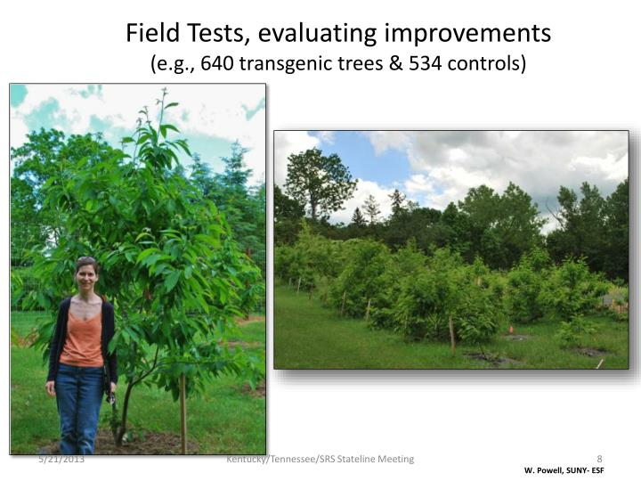 Field Tests, evaluating improvements