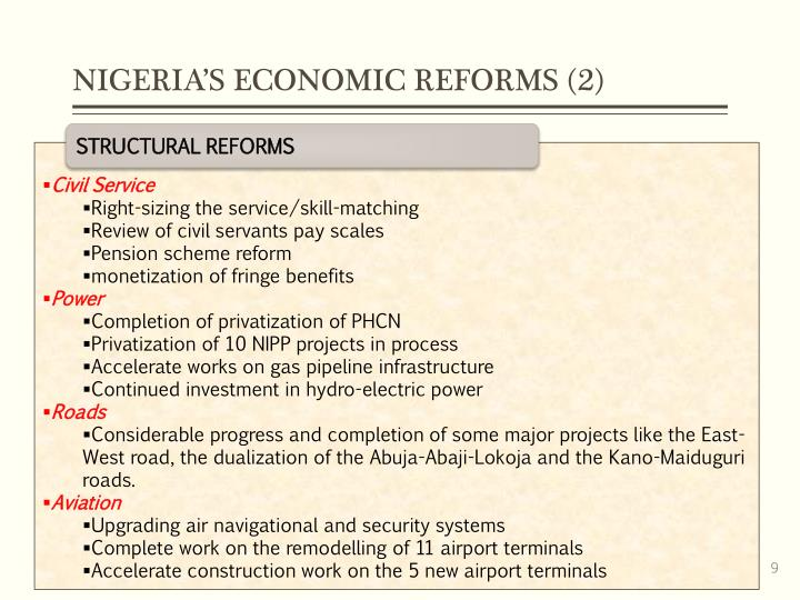 NIGERIA'S ECONOMIC REFORMS (2)