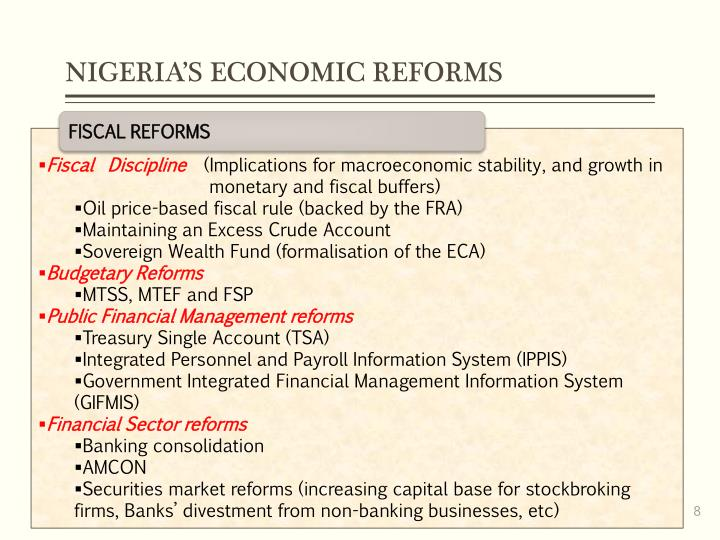 NIGERIA'S ECONOMIC REFORMS