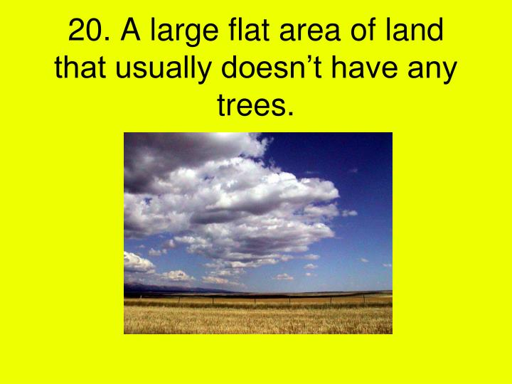 20. A large flat area of land that usually doesn't have any  trees.