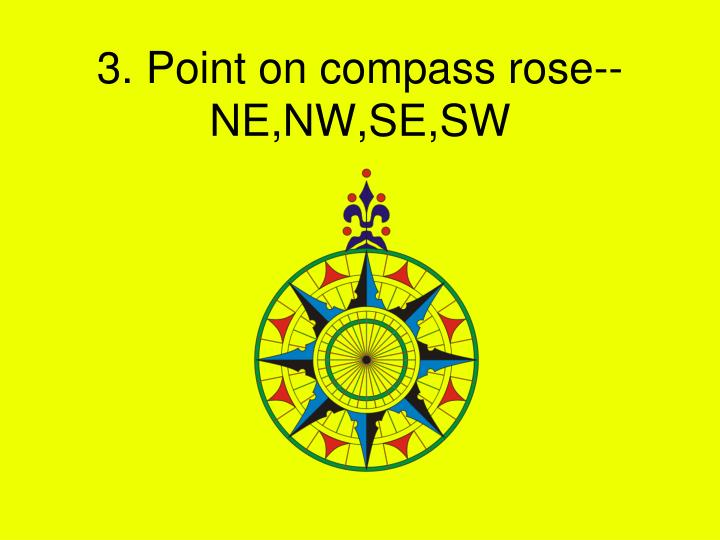 3. Point on compass rose--NE,NW,SE,SW