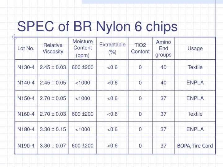 SPEC of BR Nylon 6 chips
