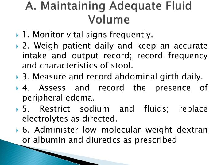 A. Maintaining Adequate Fluid Volume