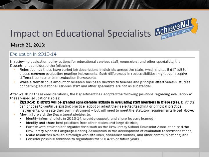 Impact on Educational Specialists