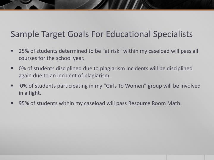 Sample Target Goals For Educational Specialists