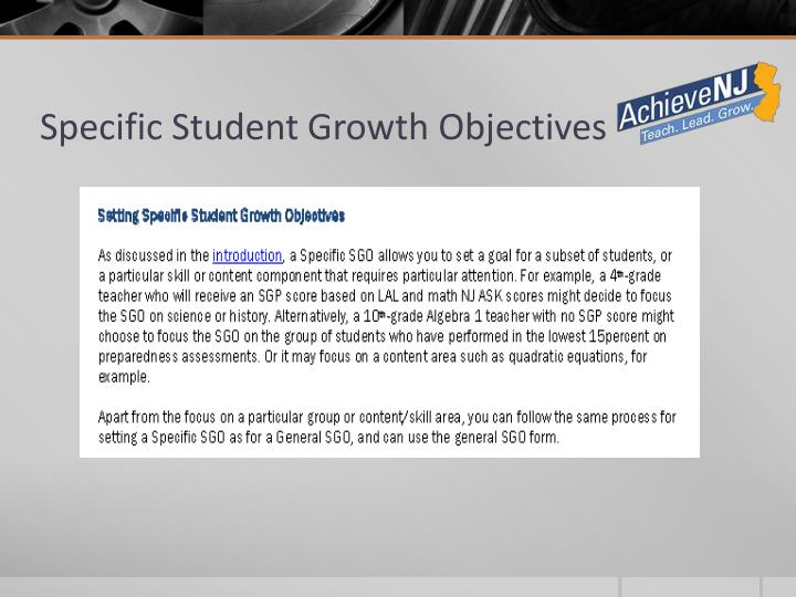 Specific Student Growth Objectives
