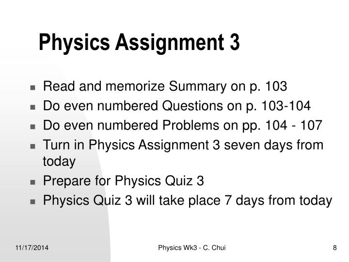 Physics Assignment 3