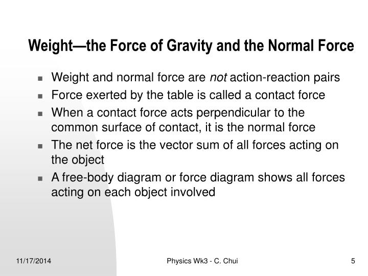 Weight—the Force of Gravity and the Normal Force
