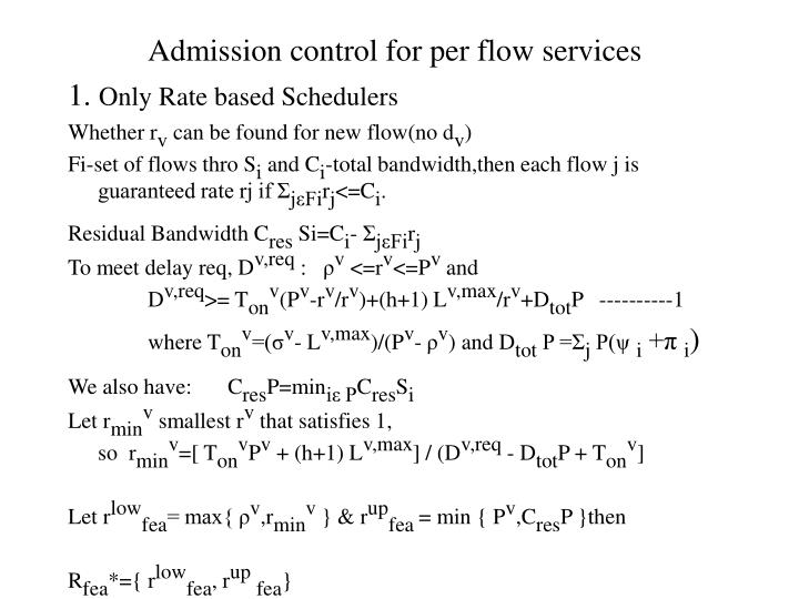 Admission control for per flow services