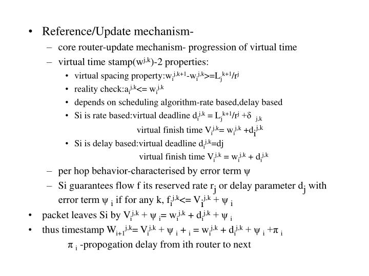Reference/Update mechanism-
