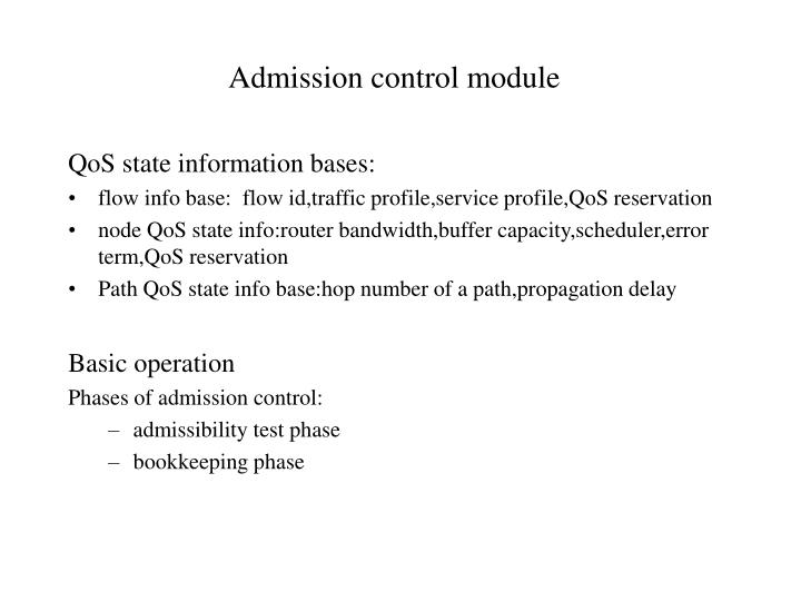 Admission control module