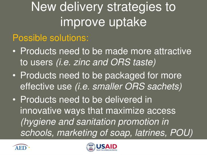 New delivery strategies to improve uptake