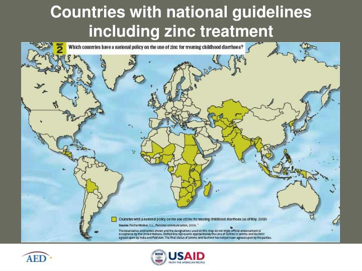 Countries with national guidelines including zinc treatment