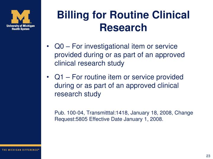 Billing for Routine Clinical Research