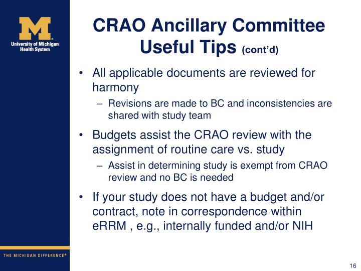 CRAO Ancillary Committee Useful Tips