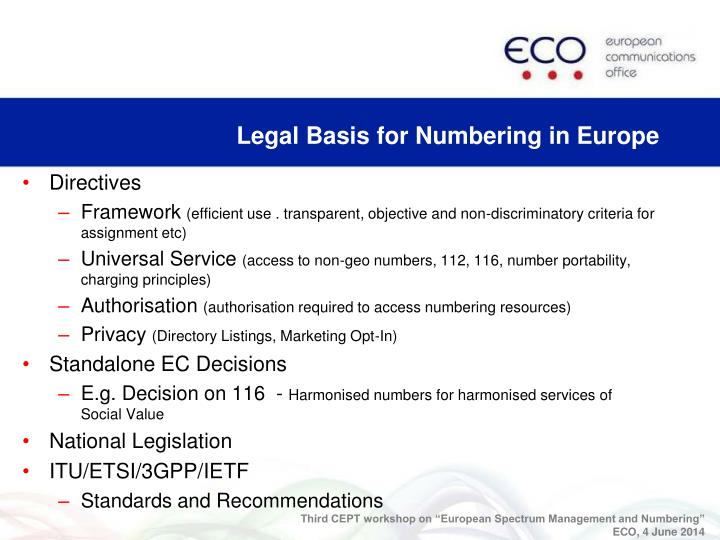 Legal Basis for Numbering in Europe
