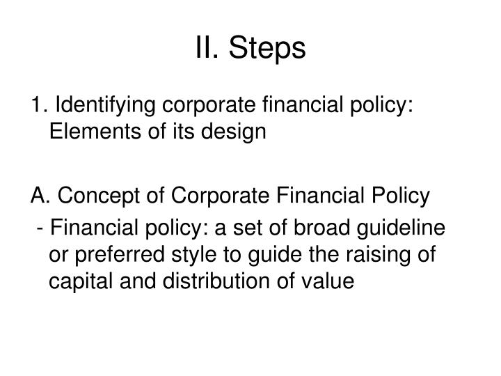 II. Steps