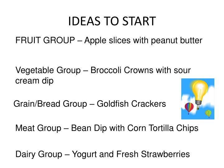 IDEAS TO START