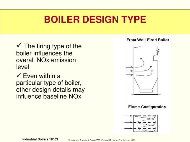 The firing type of the boiler influences the overall NOx emission level