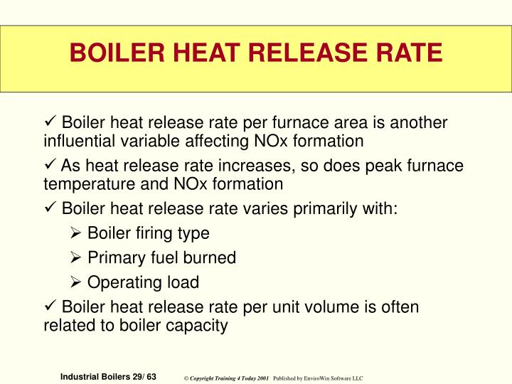 Boiler heat release rate per furnace area is another influential variable affecting NOx formation