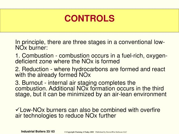 In principle, there are three stages in a conventional low-NOx burner: