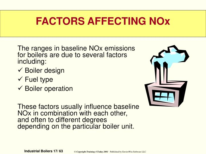 The ranges in baseline NOx emissions for boilers are due to several factors including: