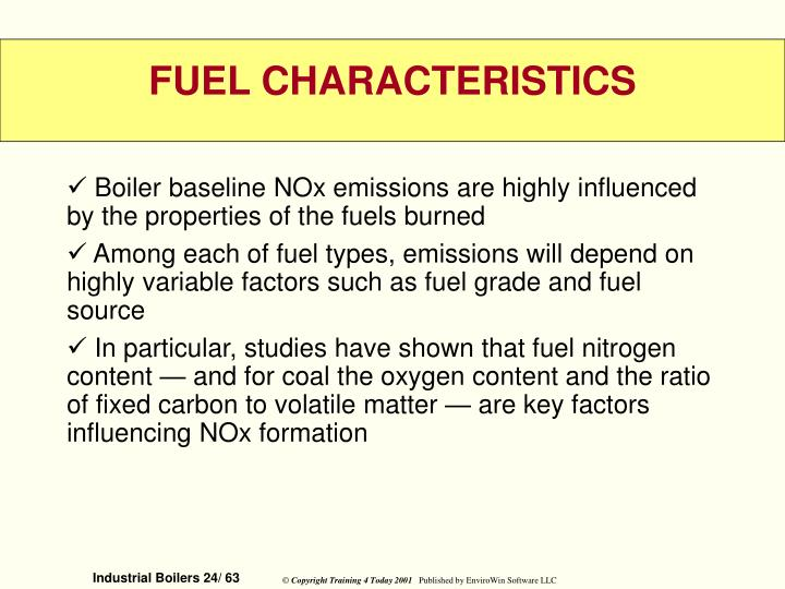 Boiler baseline NOx emissions are highly influenced by the properties of the fuels burned
