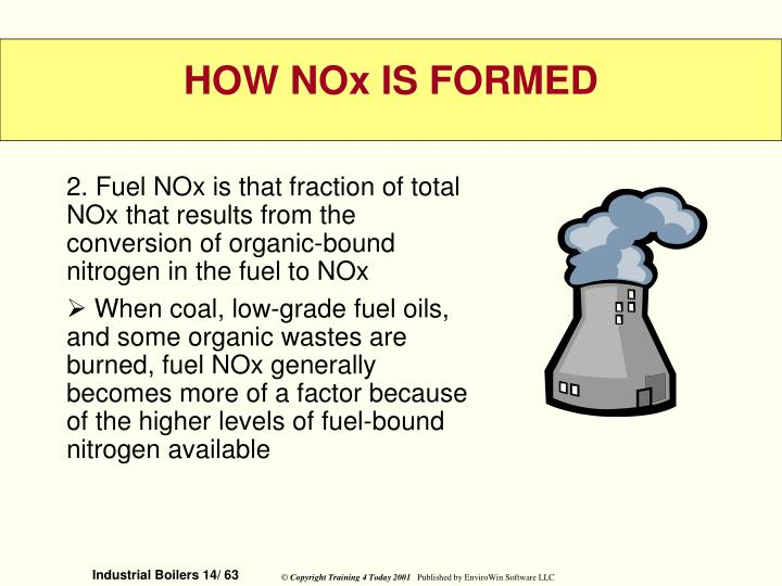 2. Fuel NOx is that fraction of total NOx that results from the conversion of organic-bound nitrogen in the fuel to NOx