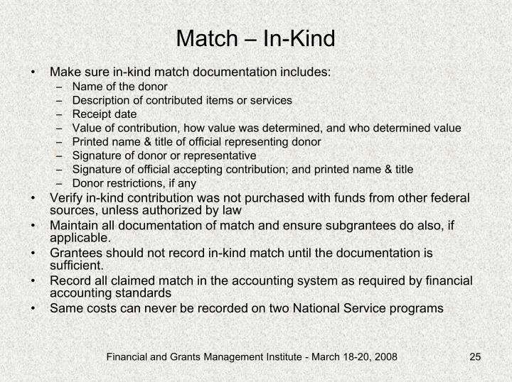 Match – In-Kind