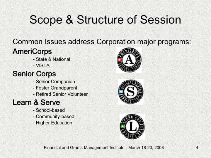 Scope & Structure of Session