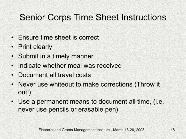 Senior Corps Time Sheet Instructions