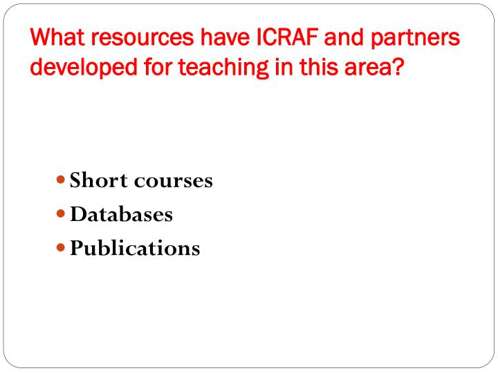 What resources have ICRAF and partners developed for teaching in this area?