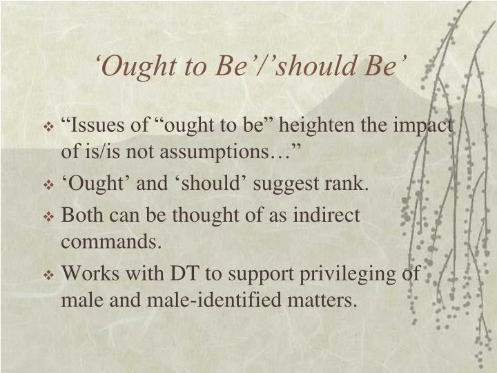 'Ought to Be'/'should Be'