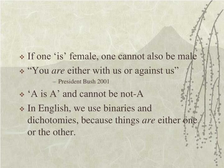 If one 'is' female, one cannot also be male