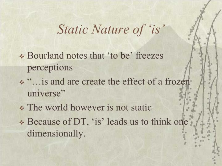 Static Nature of 'is'