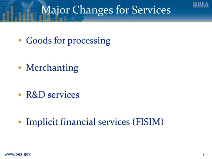 Major Changes for Services