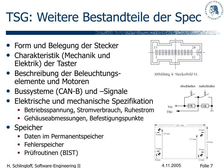 TSG: Weitere Bestandteile der Spec