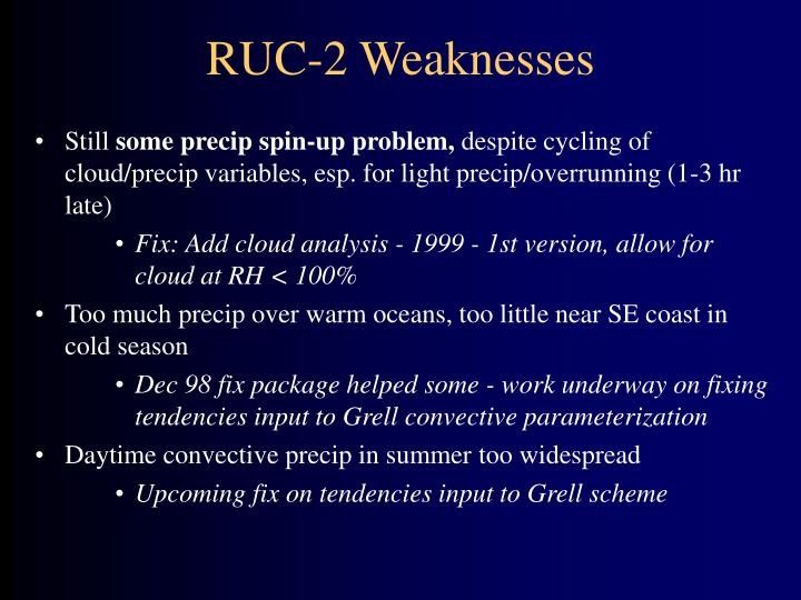 RUC-2 Weaknesses