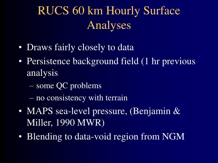 RUCS 60 km Hourly Surface Analyses