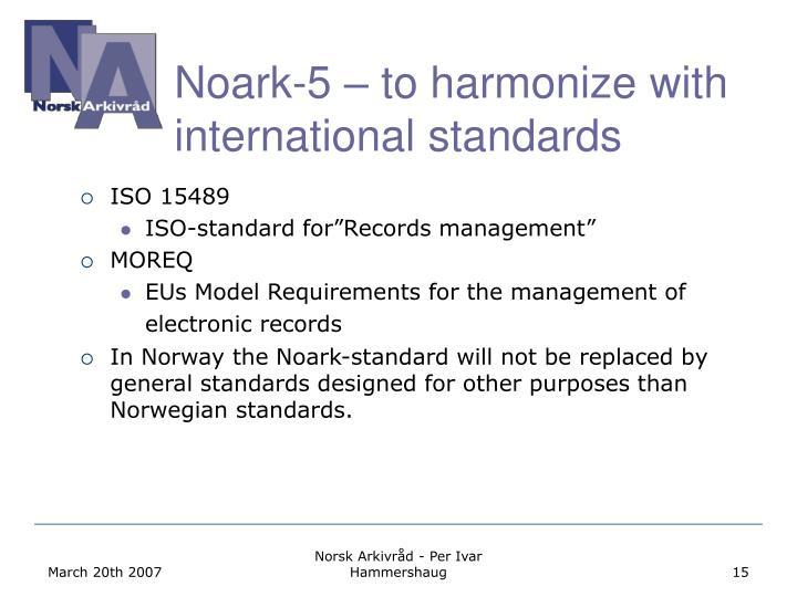 Noark-5 – to harmonize with international standards