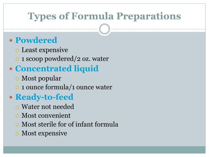 Types of Formula Preparations