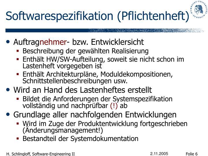 Softwarespezifikation (Pflichtenheft)