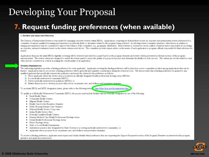 Developing Your Proposal