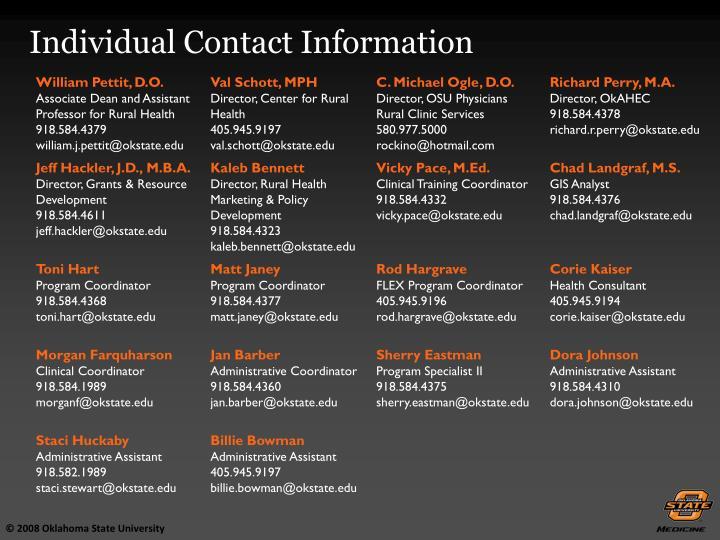 Individual Contact Information