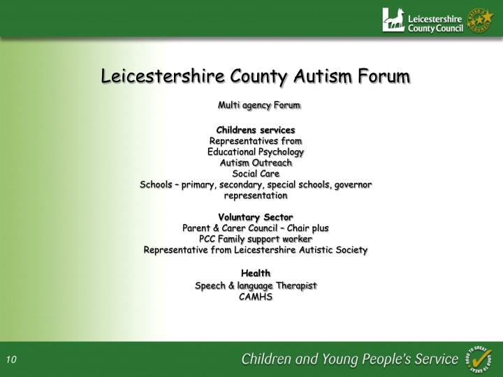 Leicestershire County Autism Forum
