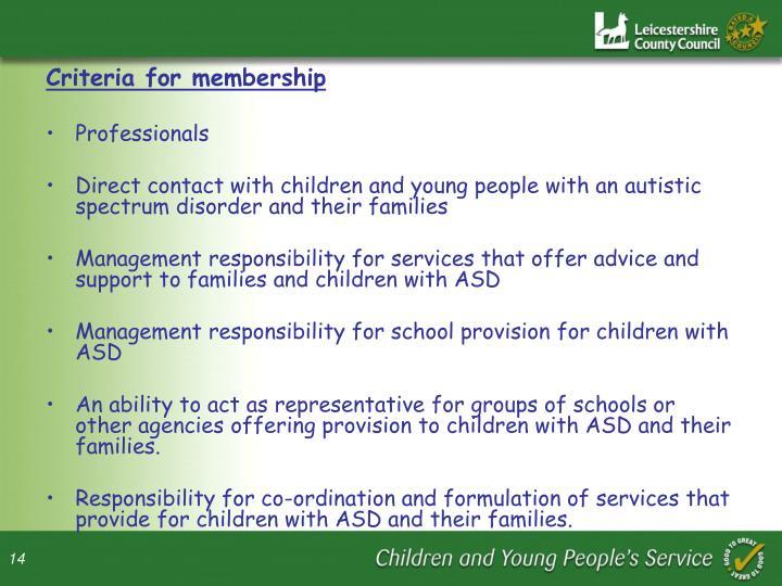 Criteria for membership