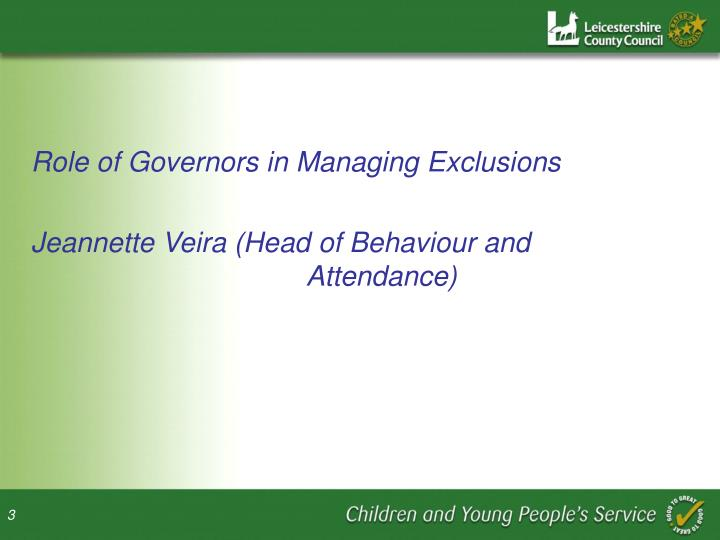 Role of Governors in Managing Exclusions