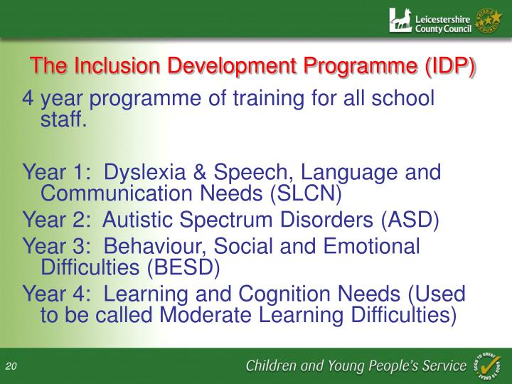 The Inclusion Development Programme (IDP)