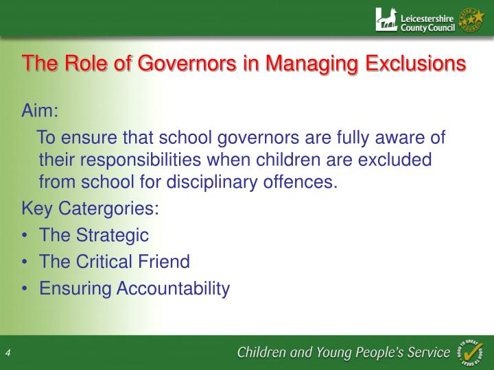 The Role of Governors in Managing Exclusions
