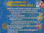children at nutritional risk